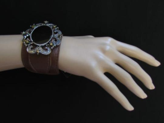 Alwaystyle4you Women Silver Brown Faux Leather Bracelet Big Center Rhinestones Image 3