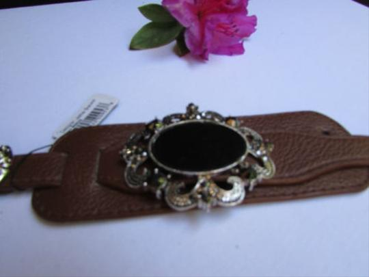 Alwaystyle4you Women Silver Brown Faux Leather Bracelet Big Center Rhinestones Image 4