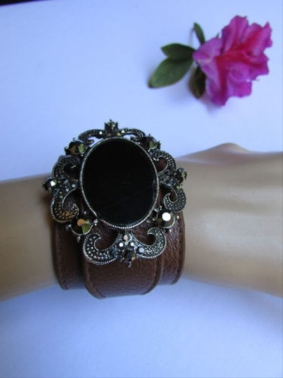 Alwaystyle4you Women Silver Brown Faux Leather Bracelet Big Center Rhinestones Image 9