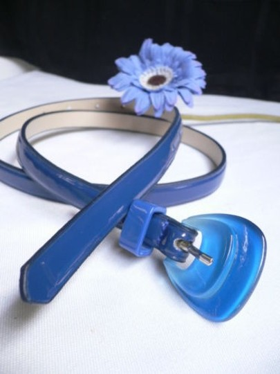 Alwaystyle4you Women Fun Real Blue Thin Faux Leather Belt Big Candy Buckle Image 1