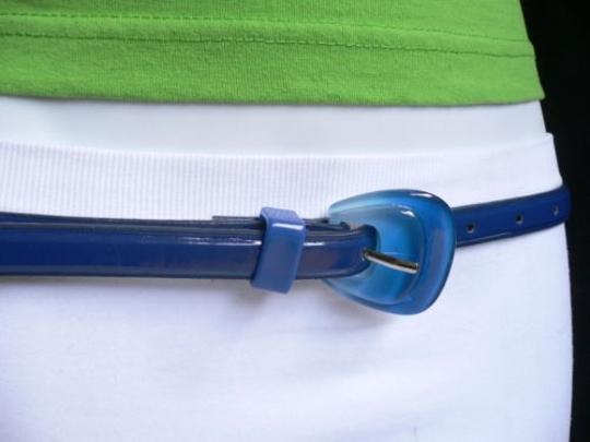 Alwaystyle4you Women Fun Real Blue Thin Faux Leather Belt Big Candy Buckle Image 2