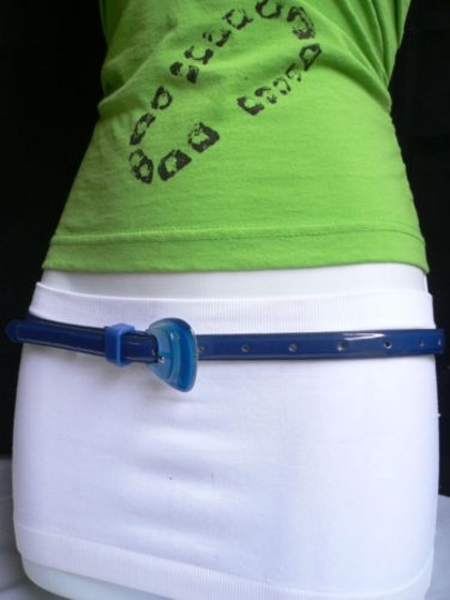 Other Women Fun Real Blue Thin Faux Leather Belt Big Candy Buckle 28-36