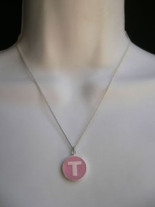 Other Name Tag Silver Metal Chains Fashion Necklace Drop Pink Letter T Round Pendant