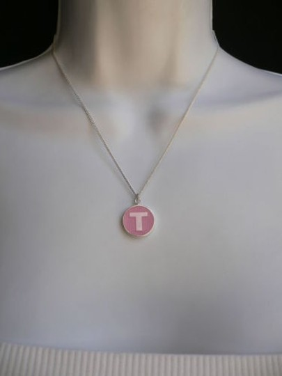 Alwaystyle4you Name Tag Silver Metal Chains Necklace Drop Pink Letter T Round Pendant Image 1