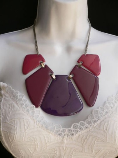 Other Women Spring Summer Multi Colors Purple Pink Big Plates Fashion Necklace