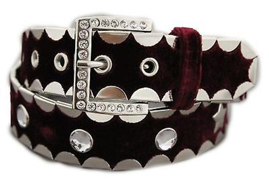 Other Women Big Rhinestones Stars Faux Suede Red Burgundy Fashion Belt 28-32