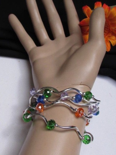 Other Women Green Orange Light Blue Beads Fashion Jewelry Five Bangles Bracelets