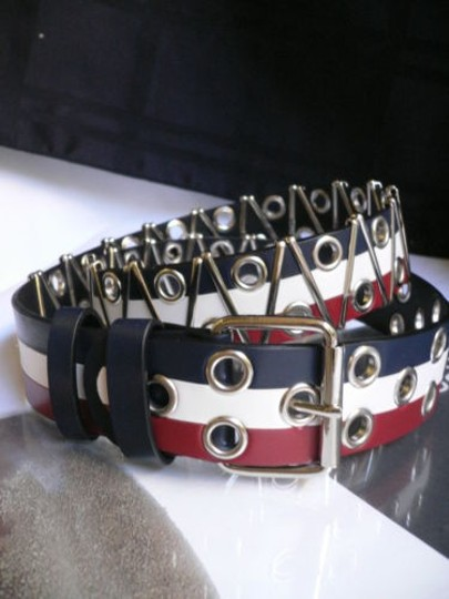 Other Women Men Jeans Belt Blue White Red Silver Metals American Flag 31-39