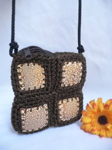 Other Women Beige Coconut Shell Fabric Hand Made Fabric Strap Cross Body Bag