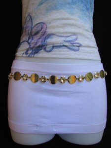 Women Gold Mesh Metal Thin Fashion Belt Big Rhinestone Circles 26-42 Xs-xl