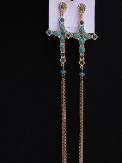 Other Women Gold Chains Blue Rhinestones Cross Hook Fashion Earring Necklace