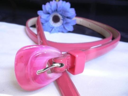 Alwaystyle4you Women Hot Pink Thin Faux Leather Belt Big Plastic Candy Buckle 28-36 Image 1