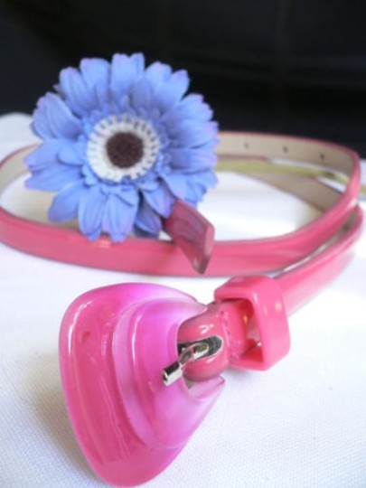 Other Women Hot Pink Thin Faux Leather Belt Big Plastic Candy Buckle 28-36