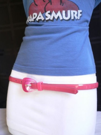 Alwaystyle4you Women Hot Pink Thin Faux Leather Belt Big Plastic Candy Buckle 28-36 Image 4