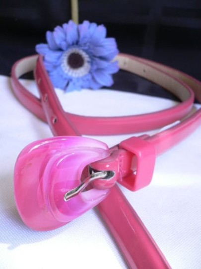 Alwaystyle4you Women Hot Pink Thin Faux Leather Belt Big Plastic Candy Buckle 28-36 Image 5