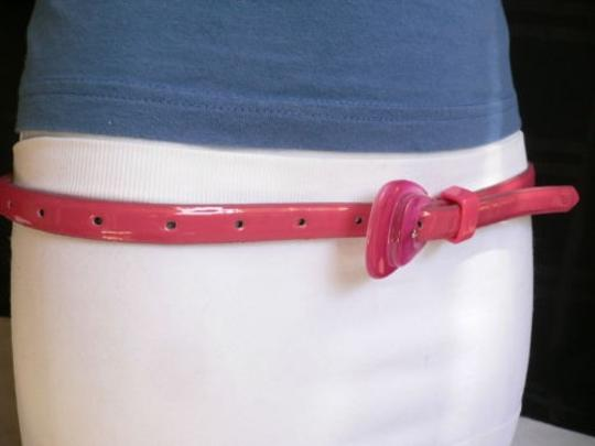 Alwaystyle4you Women Hot Pink Thin Faux Leather Belt Big Plastic Candy Buckle 28-36 Image 6