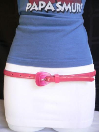 Alwaystyle4you Women Hot Pink Thin Faux Leather Belt Big Plastic Candy Buckle 28-36 Image 7