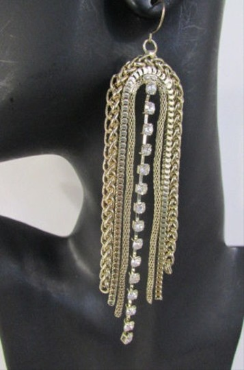 Other Women Gold Metal Chain Fringes Fashion Hook Earrings Set Long Rhinestone