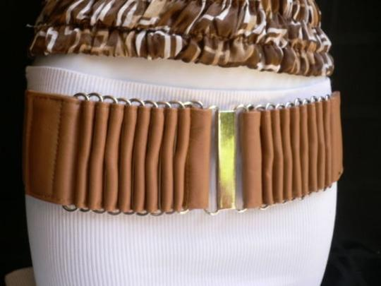 Alwaystyle4you Women Wide Beige Faux Leather Belt Silver Multi Stripes Metals Image 1