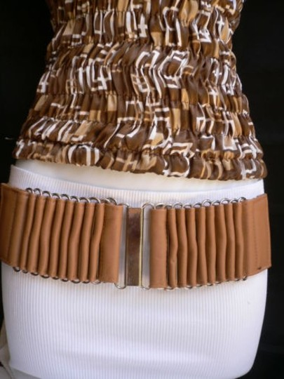 Alwaystyle4you Women Wide Beige Faux Leather Belt Silver Multi Stripes Metals Image 10