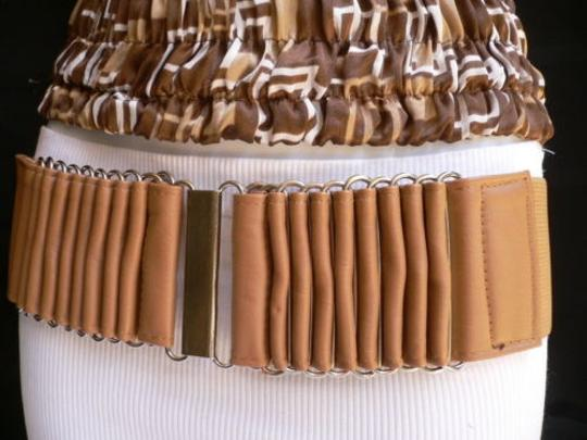 Alwaystyle4you Women Wide Beige Faux Leather Belt Silver Multi Stripes Metals Image 3