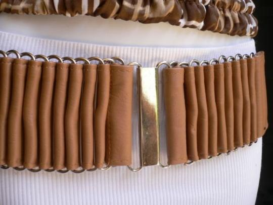 Alwaystyle4you Women Wide Beige Faux Leather Belt Silver Multi Stripes Metals Image 5