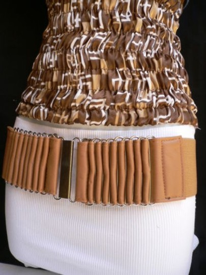 Alwaystyle4you Women Wide Beige Faux Leather Belt Silver Multi Stripes Metals Image 7