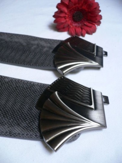 Other Women Hip Waist Elastic Gray Faux Leather Belt Metal Fans Buckle 27-33 Sm