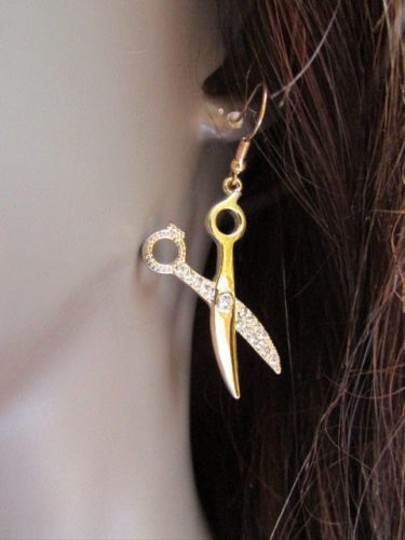 Other Women Gold Metal Celebrity Fashion Scissors Earrings 2 Drop Rhinestones