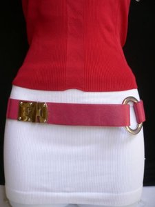 Other Women Hip Elastic Pink Fashion Belt Silver Metal Round Buckles 29-34