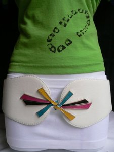 Women White Faux Leather Fashion Belt Pink Blue Black Buckle 27-35