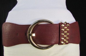 Women Dark Red Elastic Fashion Belt Big Gold Buckle Hip Waist 26-32