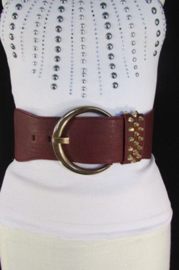 Other Women Dark Red Elastic Fashion Belt Big Gold Buckle Hip Waist 26-32