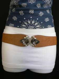Alwaystyle4you Women Hip High Waist Elastic Brown Belt Crystals Buckle 27-35