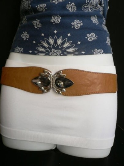 Alwaystyle4you Women Hip High Waist Elastic Brown Belt Crystals Buckle 27-35 Image 11