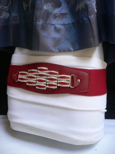 Other Women Waist Hip Elastic Red Fashion Belt Rhinestones Buckle 27-37 S-l
