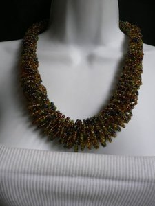 Alwaystyle4you B. Women Caramel Beige Green Beads Thick Strand Indonesia Necklace