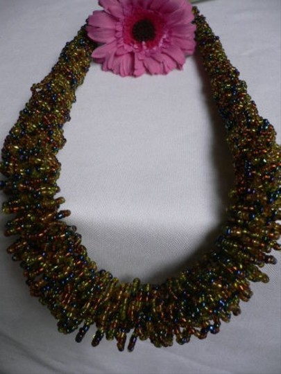 Alwaystyle4you B. Women Caramel Beige Green Beads Thick Strand Indonesia Necklace Image 1