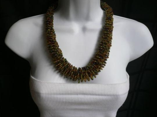 Other B. Women Caramel Beige Green Beads Thick Strand Indonesia Fashion Necklace