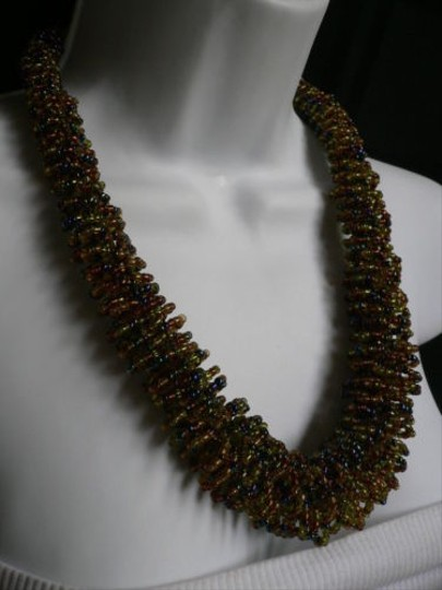 Alwaystyle4you B. Women Caramel Beige Green Beads Thick Strand Indonesia Necklace Image 11