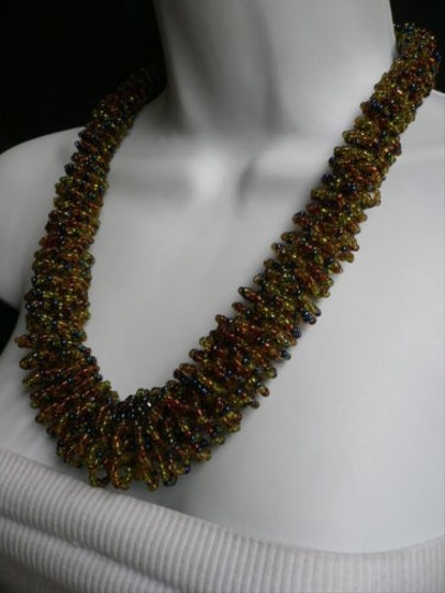 Alwaystyle4you B. Women Caramel Beige Green Beads Thick Strand Indonesia Necklace Image 2