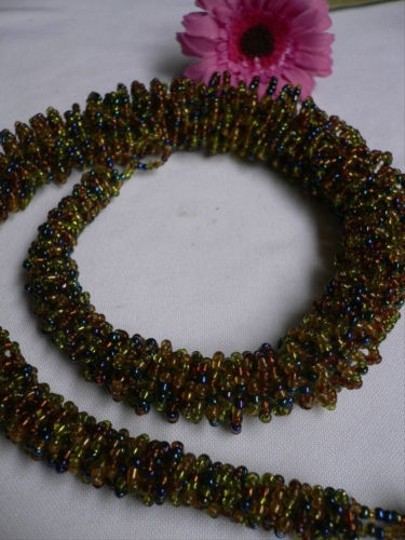Alwaystyle4you B. Women Caramel Beige Green Beads Thick Strand Indonesia Necklace Image 3