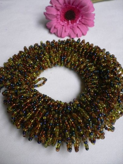 Alwaystyle4you B. Women Caramel Beige Green Beads Thick Strand Indonesia Necklace Image 5