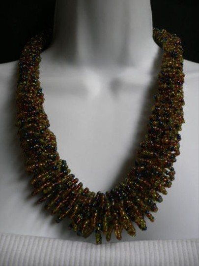 Alwaystyle4you B. Women Caramel Beige Green Beads Thick Strand Indonesia Necklace Image 6
