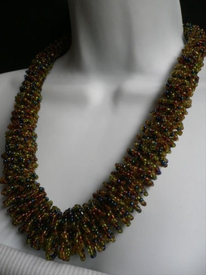 Alwaystyle4you B. Women Caramel Beige Green Beads Thick Strand Indonesia Necklace Image 8