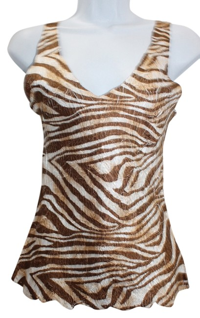 Komarov Animal Print Sleeveless Cami Print Crinkled Top