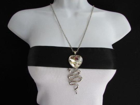 Other Women Fashion Long Necklace Silver Color Big Snake Heart Pendant Crystal