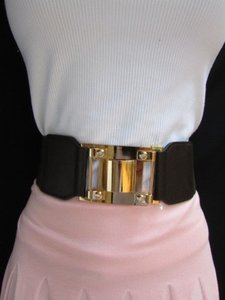 Other Women Waist Hip Dark Brown Elastic Fashion Belt Gold Metal Buckle 30-37