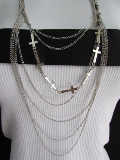 Other Wester Women Silver Fashion Necklace Multi Crosses Pendant Leaves