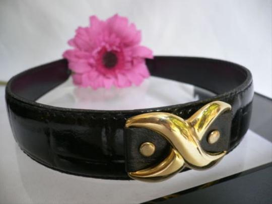 Other Women Black Faux Patent Leather Fashion Headband Big X Top Gold Detail Hair
